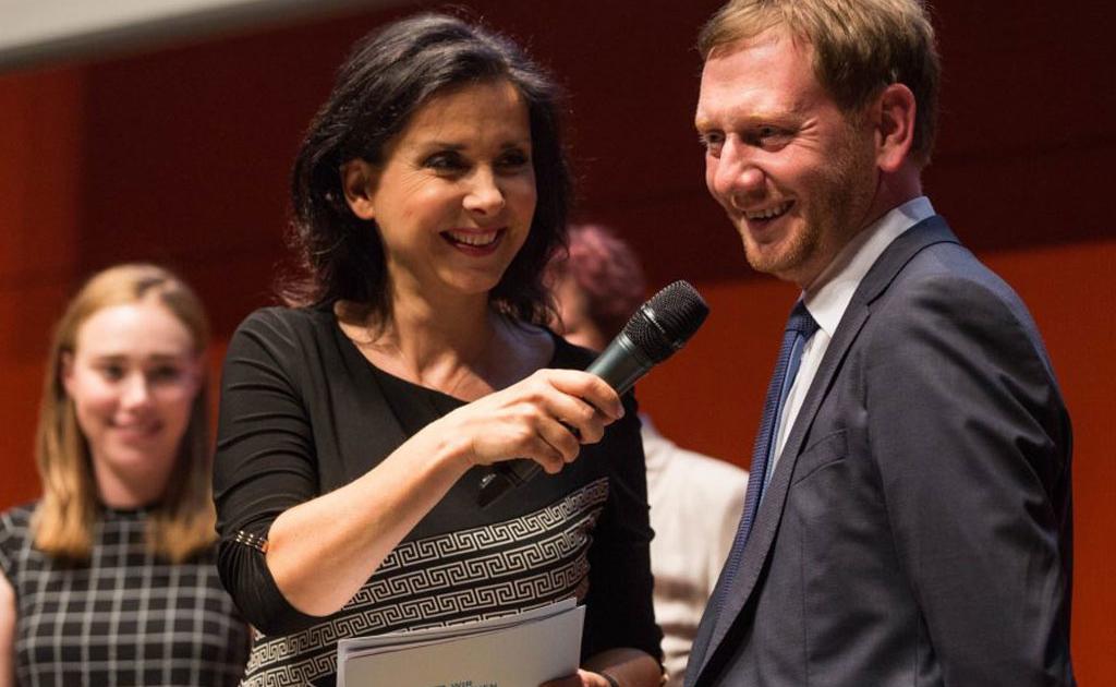 Rommy Arndt im Gespräch mit Sachsens Ministerpräsident Kretschmer
